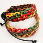Wide Rasta Color Braided Leather Bracelet .54 ea