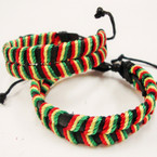 DBL Black Leather Bracelet w/ Rasta Color Cord .54 ea