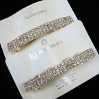 "3"" Gold Barrette Clip w/ Triple Row Clear Rhinestones ONLY .54 ea"