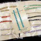 """2.5"""" Silver Bobbie Pins w/ Mixed Colored Crystals 12-2 pks Only $ 6.50"""