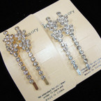 """2.5"""" Gold & Silver Fancy Bobbie Pins w/ Clear Crystals 12-2 pks Only $ 6.50"""
