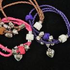 Multi Strand Braided Cord Magnetic Bracelet w/ Heart & Crystal Bead .54 ea