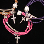 Multi Strand Braided Cord Magnetic Bracelet w/ Cry. Cross  & Crystal Bead .54 ea