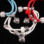 Multi Strand Bright Color Braided Cord Magnetic Bracelet w/ Heart & Crystal Bead .54 ea