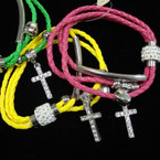 Multi Strand Bright Color Braided Cord Magnetic Bracelet w/ Cry. Cross  & Crystal Bead .54 ea