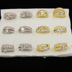 Gold & Silver Crystal Stone Wedding Band Sets ONLY .54 per set