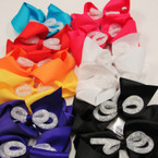 """5"""" Mixed Color Gator Clip Bows w/ Mesh w/ Clear Bead Center .54 ea"""