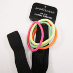 "3/4"" Wide Black NO-SLIP Silicone Headwrap w/ Neon Color  Ponyo's .54 per set"