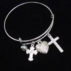 Silver Fashion Bangle w/ Cross,Heart & Metallic Bead Charms .56 ea