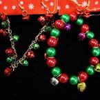 2 Style Jingle Bell Charm Bracelets & Earring Set .54 ea set