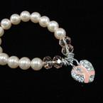 Lite Pink & Crystal Bead Bracelet w/ Crystal Stone Heart & Pink Ribbon Charm .58 ea