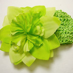 "2.5"" Crochet Headband w/ 4"" Gradiant Color Flower Bow Asst Colors .54 ea"