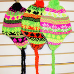 Multi Neon Color Knit Winter Cap w/ Fun Braids Only $ 1.33 ea