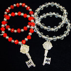 2 PAck Bead Stretch Bracelet w/ St Benito Key Charm .56 ea