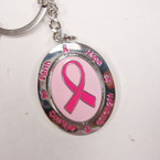 Great Quality Oval Pink Ribbon Metal Keychain  12 per pk .54 ea