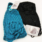 "4"" Knit Winter Headwrap w/ Knit Flower & Button ONLY $ 1.50 ea"
