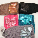 "4"" Knit Winter Headwrap w/ Sequin Bow  ONLY $ 1.50 ea"