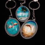 "2.5"" Oval Scenic Metal Florida Keychain w/ Silver Rope Look Edge .54 ea"