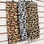 """12"""" X 56"""" Fleece Feel  Fabric Scarf 5 Leopard Prints on Hanger  .79 ea"""