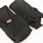 "4"" Wide Knit Headwrap w/ Flower & Button  All Black  12 per pk Only $ 1.25 ea"