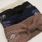 "4"" Wide Winter Color Knit Headwrap w/ AB Stones  $ 2.00 ea"