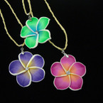 Jute Look Cord Necklace w/ Hawaiian Flower Pendant .54 ea