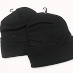 All Black Knit Winter Caps w/ Fold .58 ea