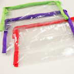"5"" X 8.5"" See Thru Cosmetic Bag w/ Colored Trim .56 ea"