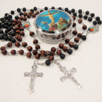 "36"" Scented Wood Bead Look Rosary w/ Silver Cross W/ jESUS  .54 ea"