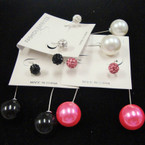 "Trendy 2.5"" Wire Earring w/ Colored Pearl & Crystal Bead .54 ea"