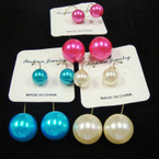 "Trendy 2.5"" GoldWire Earring w/ Colored Pearls .50 ea"