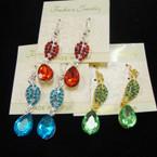 Gold & Silver Fashion Earring w/ Tear Drop Stone & Crystals .50 ea