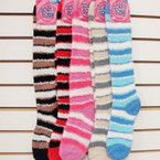 Soft & Cosy Knee High Socks Size 9-11 Stripe Pattern .91 per pair