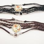 Multi Line Leather Bracelet w/ Clock,Eiffel Tower & Heart  .66 ea