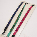 Trendy Asst Dark Color Headband w/ Seed Beads & Shiney Stones .50 ea