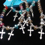 8MM Crystal Stone Stretch Bracelet w/ Silver Cross Charms .54 ea