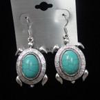 Cast Silver Turtle Earring w/ Oval Turq. Stone .54 ea