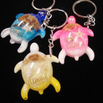 "2"" Acrylic Turtle Shell Inlay Keychain w/ Engraved Florida .54 ea"
