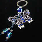 "2"" Silver Butterfly Keychain w/ Crystals & Glass Eye Beads .54 ea"