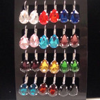 Silver Euro Wire Earring w/ Tear Drop Gemstone Mixed Colors 12 pair display