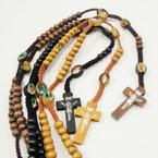 "36"" Long Wood Bead Rosary w/ Saint Pic's & Wood Cross ONLY .50 ea"