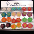 12 Pair Asst Color Glitter Flower  Stud Earrings .50 per set