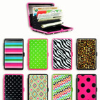 Metal Fashion Printed Accordion Wallets 8 per pack $ 1.25 ea