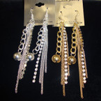 "4"" Dangle Gold & Silver Chain Earring w/ Rhinestone Strip .52 ea"