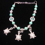 Silver & Turquoise Bead Bracelet w/ Three Turtle Charms  .54 ea