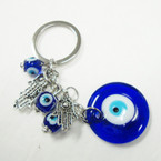 Glass Eye Bead Keychain w/ Silver Hamsa .54 ea