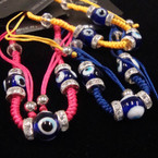 Handmade Asst Color Macrame Bracelet w/ Crystal Stone & Glass Eye Beads .54 ea