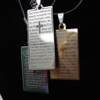 "18"" Black Cord Necklace w/ Long Laser Cut LORD'S Prayer Pendant  .54 ea"