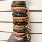 Natural Color Braided Leather Bracelet w/ Wood Display .60 ea