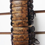 Natural Color Teen Leather Bracelet w/ Love Plaque .54 ea